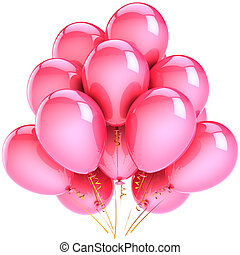Balloons party decoration colorful pink. Romantic happiness holiday abstract. Birthday anniversary celebration concept. This is a detailed CG three-dimensional 3D render. Isolated on white background