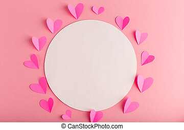 pink pastel background with hearts