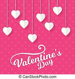 Pink pattern background with valentine's card
