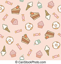 Pink pattern with different sweets
