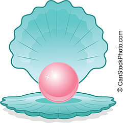 Illustration of blue shell with pink pearl on white background.