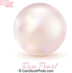 Pink pearl isolated on a white back