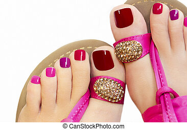 Pink pedicure. - Pedicure with different colors of paint on ...