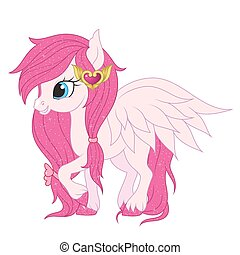 Pink pegasus illustration. - lllustration of a pink pegasus...