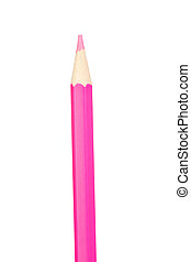 Pink pencil vertically isolated on white background