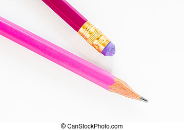 Pink Pencils on White Background