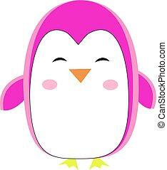 Pink penguin, illustration, vector on white background.