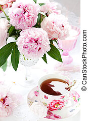 pink peonies and cup of tea - Pink peonies in vase and cup ...