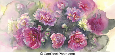 pink peonies in green background watercolor