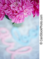 pink peonies in pastel colours on a background