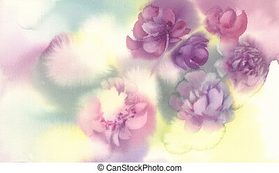 pink peonies strokes in unfinished watercolor background