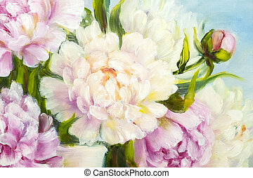 Pink peony background. - Pink and white peony background....