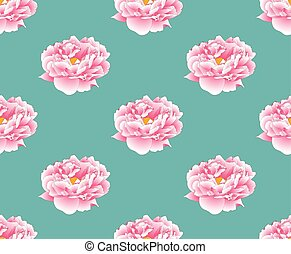 Pink Peony on Green Teal Background
