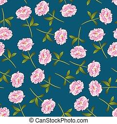 Pink Peony Seamless on Indigo Blue Background