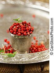 pink pepper peas for seasoning food