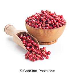 pink peppercorn isolated on white background