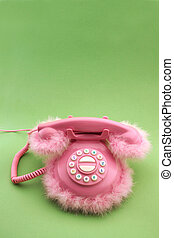 Pink phone with copy space