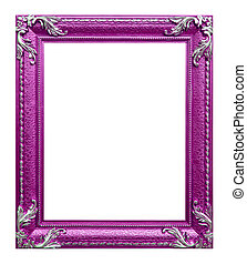 pink photo frame on the white background