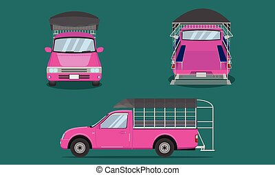 pink pickup truck with car steel grating plastic top cover passenger front side back view transport vector illustration eps10