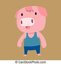 Pink pig cartoon character