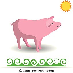 Pink Pig, cartoon on white background,