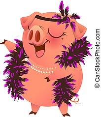 Pink pig in boa necklet sings karaoke