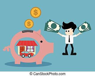 Pink pig-moneybox. Save money for house property illustration.