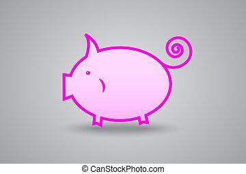 pink pig piggy bank on gray backgro