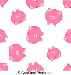 Pink pig piggy bank seamless pattern. Symbol of the New Year 2019 on the Chinese lunar calendar.
