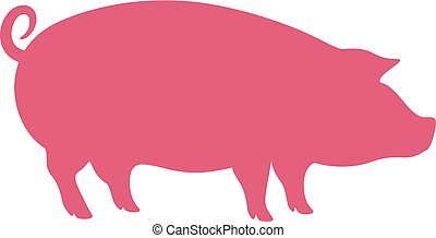 Pink pig vector icon