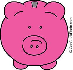 Pink pig vector illustration
