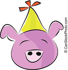 Pink pig with yellow party hat vector illustration on white background