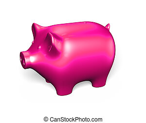 Pink piggy bank, 3D illustration