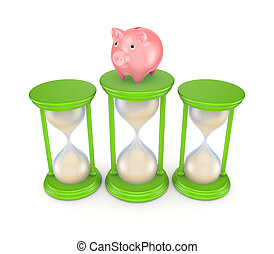 Pink piggy bank and green sand glasses. Isolated on white ...