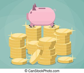 Pink piggy bank and stacks gold coins