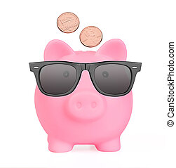 Pink piggy bank front view isolated on white