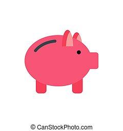 Pink piggy bank icon, flat style
