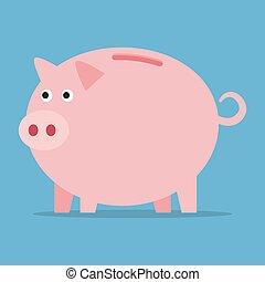 Pink piggy bank.