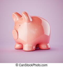 Pink piggy bank isolated on pink background