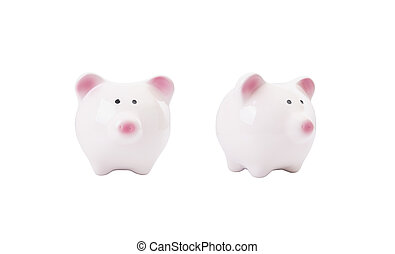 pink piggy bank isolated on white background. front side view.
