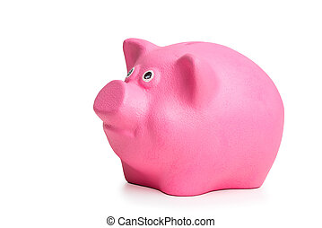pink piggy bank isolated on white background side view