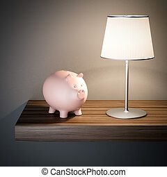 Pink piggy bank on a shelf. 3d rendering