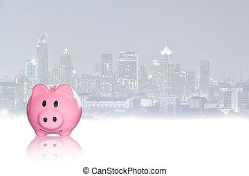 Pink piggy bank on City background.