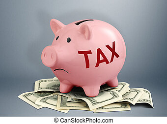 Piggy bank on dollars, tax and income creative concept