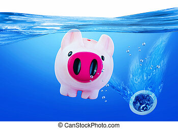 Pink Piggy Bank Sinking.