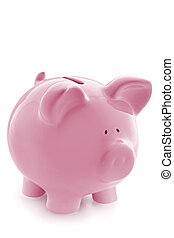 Pink Piggy Bank - Gorgeous pink piggy bank, isolated on...