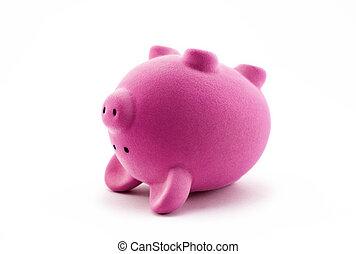Pink piggy bank upside down