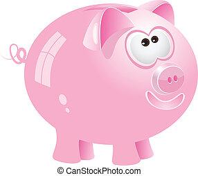 Pink piggy bank, vector