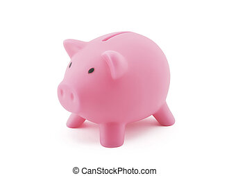 Pink piggy bank with clipping path