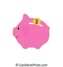 pink piggy bank with coin icon